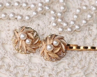 Vintage DESIGNER Gold Pearl Bridal Bobby Pins,Set of Two,Jeweled Faux Pearl Hair Pins,Gold Bow Ribbon,Upcycled Vintage Jewelry,Something Old
