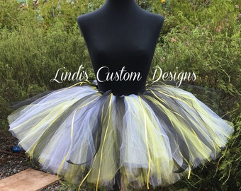 Black and Yellow Tutu for Costumes, Bumble Bee Tutu, Batman inspired Tutu, Child, Teen, Adult, Custom Boutique Tutu, Halloween Pageants