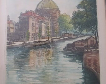 Original Watercolor Kloveniersburgwal Canal Signed Bansh Watercolor Amsterdam Landmarks Vintage Art European Landmarks SHIPSWORLDWIDE