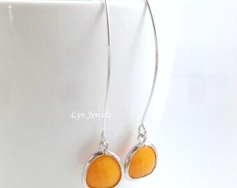 Long Orange Earrings, Long Marquise Earwires Mustard Orange Halloween Earrings, Long Boho Silver Teardrop Orange Earrings