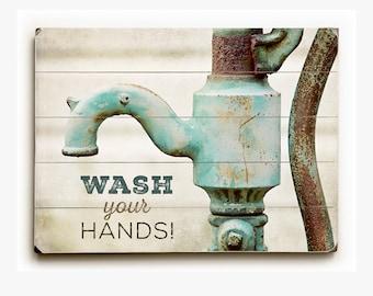 Wood Sign: Kids Bathroom Decor, Wood Sign for Bathroom Art, Planked Wood Sign for Bathroom, Rustic Bathroom, Wash Your Hands Sign.