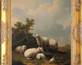 Fab Sheep Landscape Art Print, Framed in Ornate Wood Frame, Print on Canvas