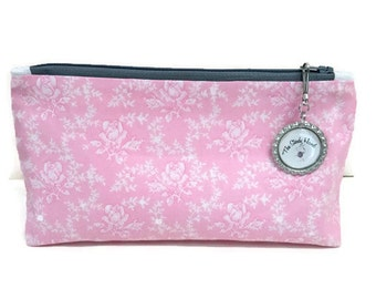 Small Lovely Pink Roses Makeup Zipper Storage Pouch S193