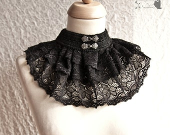 Collar lace, Victorian, Steampunk noir collar, romantic goth, black, Maeror, Somnia Romantica, size large see item details for measurements