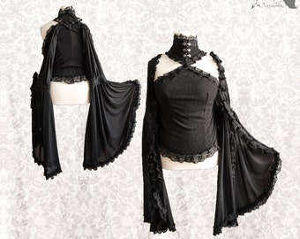 Top Art Nouveau, black romantic goth, off shoulder , fantasy, Idolon, Somnia Romantica, size large see item details for measurements