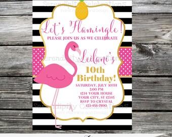Flamingo Invitation, Baby Shower Invite, Bridal Shower Invite, Birthday Invitation, Pineapple,  Printed Invitation,  Gold, Pink, Black