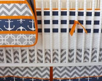 Crib Bedding- MADE TO ORDER- Baby Bedding- Nautical Crib Bedding
