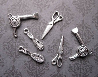 6 Hair Styling Charms in Silver Tone - C2358