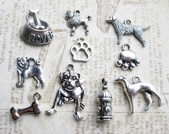 Dog Charm Sampler Collection in Silver Tone - C2386