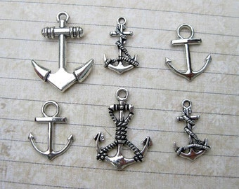 Anchor Charm Collection in Silver Tone - C2394