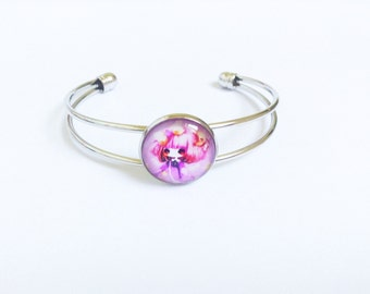 Silver plated bangle, pink fairytale girl glass cabochon bracelet, unique birthday present for daughter, cute kawaii gift for her