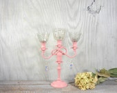 Shabby chic candelabra, unique table centerpiece, pink