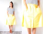 Vintage XS/S 1950's yellow skirt // retro boho button down skirt // 1960's skirt // modest vintage skirt // bright yellow summer full skirt