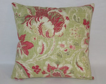 "Lime Green and Red Floral Pillow, Waverly Arbor Imagery Crimson Fabric, 17"" Cotton Square, Ready To Ship,  Cover Only or Insert Included"