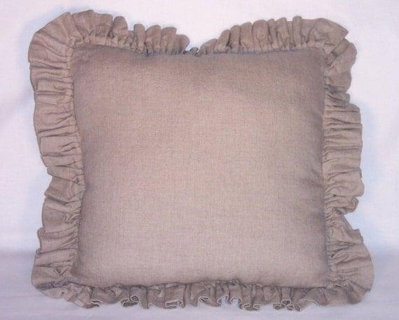 Tan Linen Throw Pillow : Tan Linen Ruffled Throw Pillow Cover and Insert 17