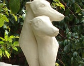 PAIR of GREYHOUNDS BUST - Solid Stone Garden Sculpture - Hand Crafted in U S A (c)