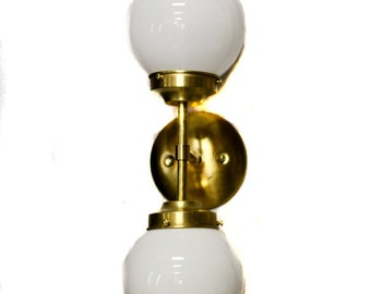 Mid Century Modern Double Glass Globe Wall Sconce / Ceiling Mount Light Fixture ( brass or chrome ) ( white or clear globes )