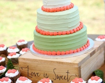Love is Sweet Rustic Wedding Cake Stand Rustic Cupcake Stand Engraved Cake Stand #DownInTheBoondocks