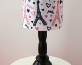 Barbie Furniture - Black Table Lamp w Paris Print Drum Lampshade - FREE Shipping to anywhere in the USA