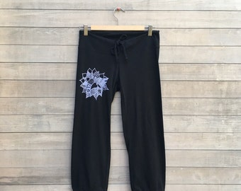 find your center Lotus Yoga Pants, Pajama Bottoms, Cropped Pants, S,M,L,XL,XXL