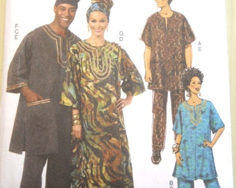 Butterick B5725 Tunic, Caftan, Pants, Hat, Headwrap Size XN (XL-XXXL)
