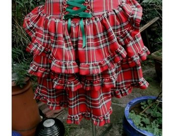 red tartan bustle skirt with back corset lacing any size any tartan plaid bustle skirt