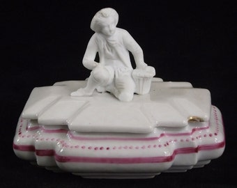 SALE Porcelain Box with Parian Ware Figurine of Shepherd with Hand in Souffle