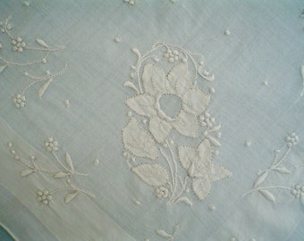 Bridal Hankie with Lavish Floral Embroidery Vintage Handkerchief