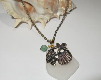 Sea glass necklace - bronze vintage style boho seashell jewelry - beach glass starfish necklace.
