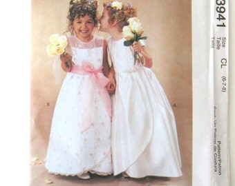 2000s Girls Dress Pattern McCalls 3941 Formal Dress Sewing Pattern Flower Girl Dress Tulip Hem Alicyn Size 6 7 8 Chest 25-27 UNCUT