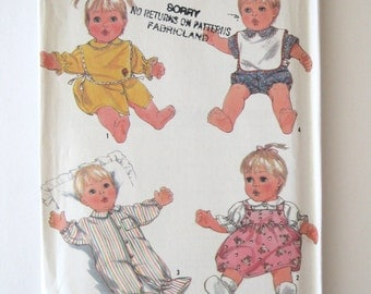 1980s Baby Doll Clothes Wardrobe Pattern Simplicity 8417 21 inch doll, Doll Dress Jumper Top Bib Romper Sewing Pattern Real Baby UNCUT