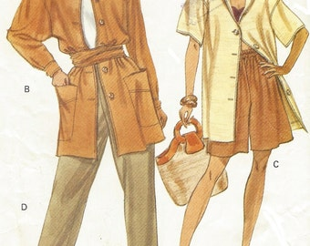 90s Womens Oversized Shirt, Shorts, Pants & Sash Vogue Sewing Pattern 7820 Size 14 16 18 Bust 36 38 40 UnCut Vintage Very Easy Very Vogue