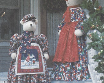 """Faith Van Zanten 55"""" Snow Lady & 40"""" Polar Bear with Clothes Simplicity Sewing Pattern 7882 UnCut Christmas Greeters"""