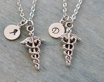 registered nurse necklace, best friend gifts, graduation gift, sister necklace, rn gift, nurse symbol charm, friend necklace set, bridesmaid