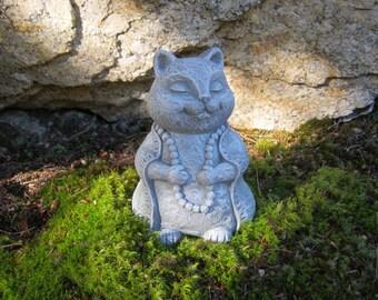 Cat Statue, Meditating Cat Buddha Statue, Zen Cat, Concrete Cat Statues, Garden Cat Figure, Cement Cat Statue, Buddha Cat, Garden Art
