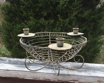 Wire Bowl Candle Holder Metal Rustic
