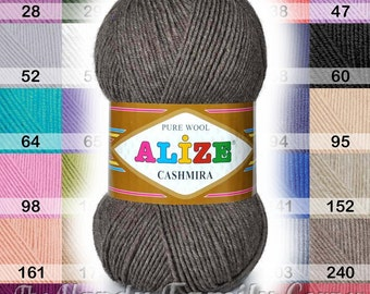 Set of 5 skeins Alize Cashmira yarn, Pure wool, warm winter 100% wool Colour of your choice. pure wool,DK, medium, 8ply, 13wpi Wholesale DSH