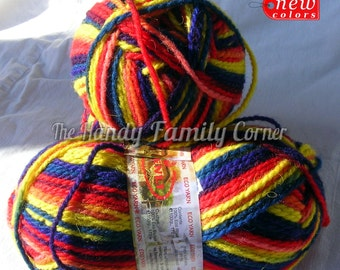 Ethno wool multicolor yarn in red, blue and yellow (355). Pure eco wool yarn. Natural wool yarn. Natural fiber yarn Warm yarn Winter DSH(P3)