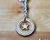 Captain America Shield keychain OR Captain America Shield charm accessory - captain america keychain, captain america charm, laser cut wood