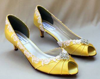"Yellow wedding shoes 1.75""-Corrisa - Wide shoes available - low heel"