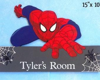 Spiderman door hanger, Spiderman decor, spiderman, kids door sign, kids door hangers, boys room signs, Spiderman room signs, kids room signs