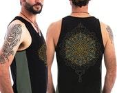 Mandala Men Tank Top In Black, Sacred Geometry Clothing, Psychedelic Festival Wear For Men By SOL