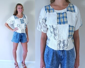 vtg 90s Cream PATCHWORK crochet lace CROP TOP Sm/Med grunge Express cropped India shirt blouse plaid waffle knit