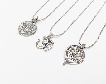 Sterling Silver Pendant Necklaces - Buddha Pendant Necklaces - Ohm Necklace