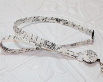 Lanyard - Fabric Lanyard with Retractable Badge Reel - ID Badge Holder- Handwriting Script