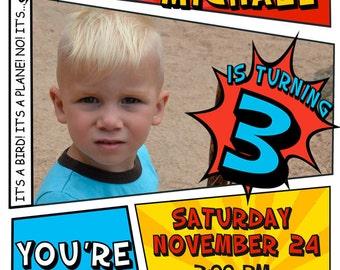 Super Hero Birthday Party Invitation PERSONALIZED