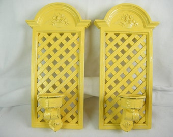 Yellow Vintage Candle Wall Sconces - Spring Floral and Lattice Design - Syroco Refinished - Distressed Cottage Chic Yellow - Set of 2