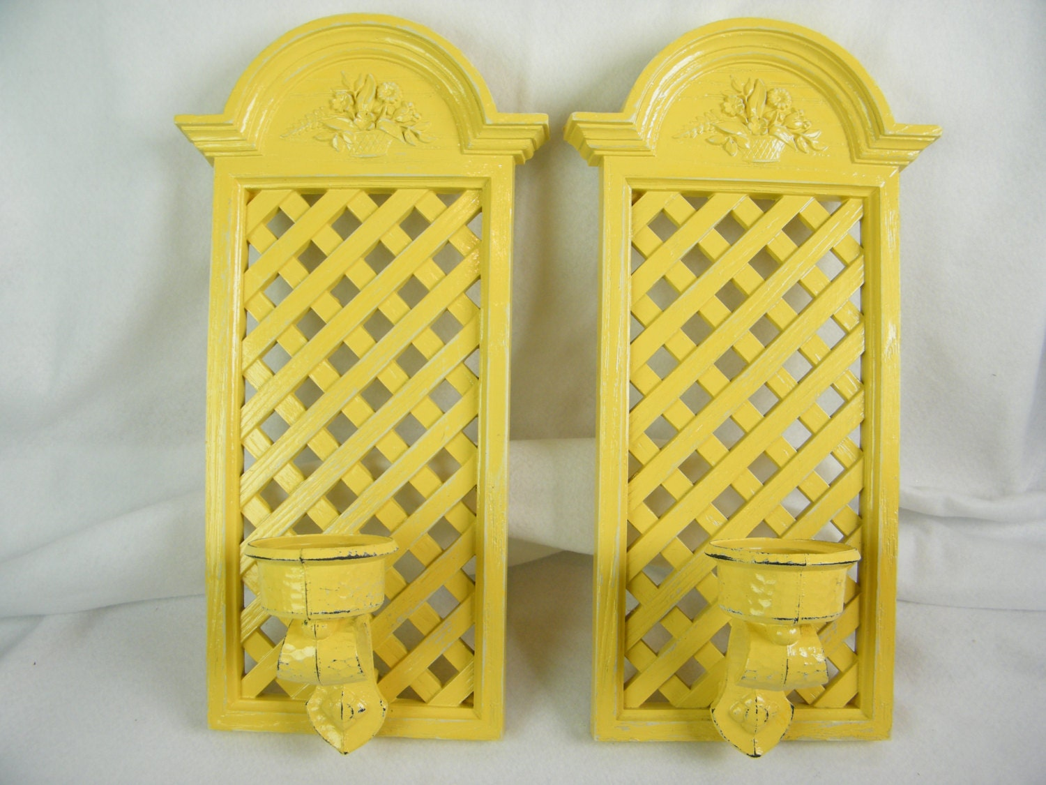 Yellow Wall Sconces : Yellow Vintage Candle Wall Sconces Spring Floral and Lattice