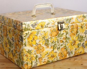 Yellow Daisy Floral Sewing Box Case