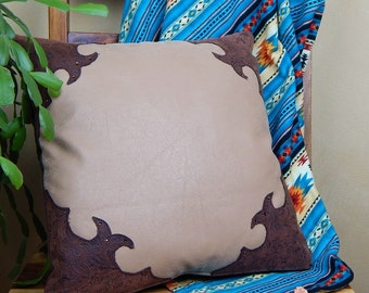 Tooled Leather Pillow, Western Pillow, Brown and Rustic Tooled Leather with Swarovski Crystals
